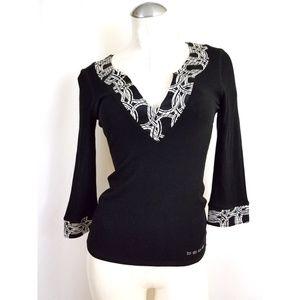 bebe Size S Black Taupe Knit Top Silk Trim